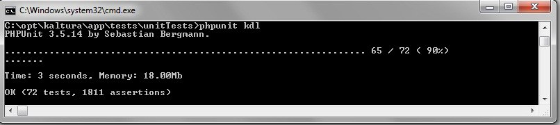 PHPUnit command line test runner result