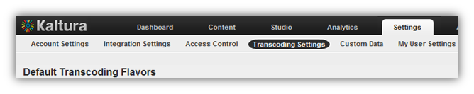 KMC Transcoding Profile Page