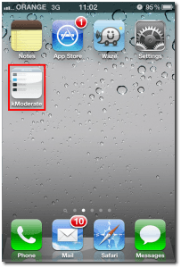 iOS HomeScreen with kModerate app