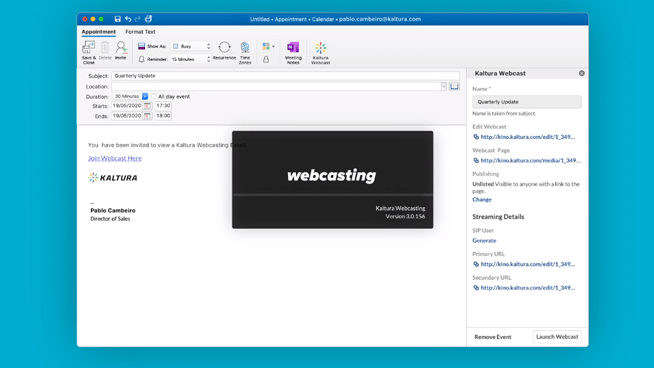 creating a new webcast in outlook
