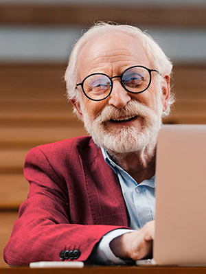 professor working in remote learning