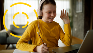 Young girl attending a lesson in a virtual classroom