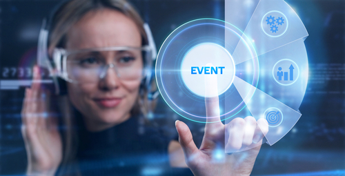 Hybrid Events - woman clicking on event