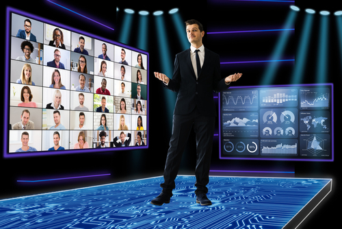 virtual trade show - host presenting in a digital environment